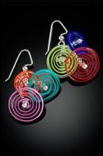 E016 Six Bead Multi-Color Filigrana Disc Earrings