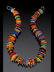 BLN119 Multi-Color Opaque Disc Necklace