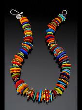 BLN119 Multi-Color Opaque Disc Necklace