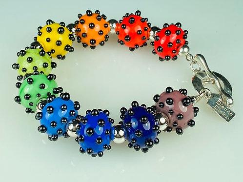 B096 Big Dot Bracelet Opaque Rainbow Beads w/Black Dot Trim