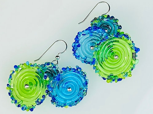 E056 Flying Saucer Earrings 6 Transparent Discs Lime/Blue/Turquoise w/Frit Trim