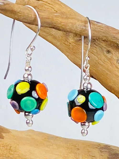 E168B Dots & Swirls Earrings Opaque Round Beads Black w/Colorful Pressed Dots