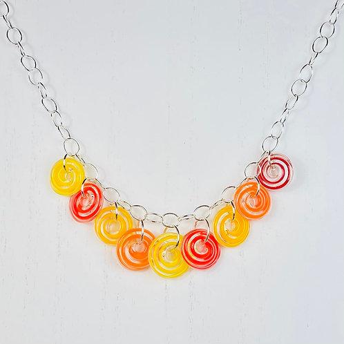N125 Nine Bead Necklace Filigrana Red/Yellow/Orange