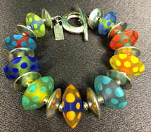 B510 Etched Multi-Dotted Colorful Saucer Bracelet