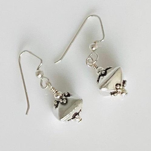 E213 Bali Bead Sterling Silver Sparkling Earrings - E213