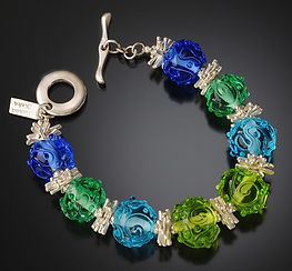 Transparent BluesGreens Scribble Bracele