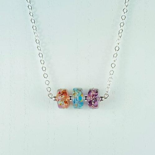 N053 Bar Necklace Multicolor Transparent Barrel Beads w/Frit Trim