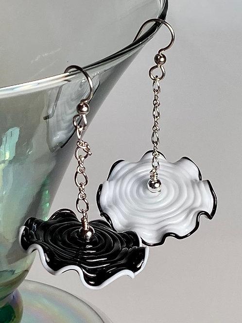 E004 Ruffle Bead Earrings Black and White Beads w/White & Black Trim