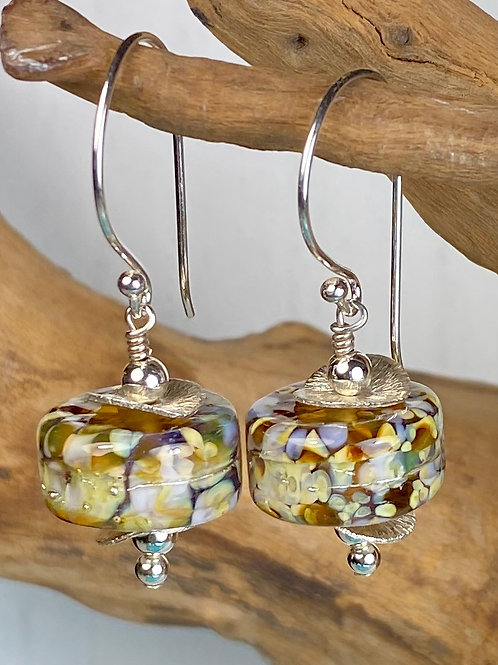 E041 Chunky Barrel Earrings w/Frit Melted In Topaz/Ivory/Green
