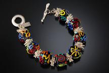 B513 Black Opaque Round Beads w/Multi-Color Scribbles Bracelet