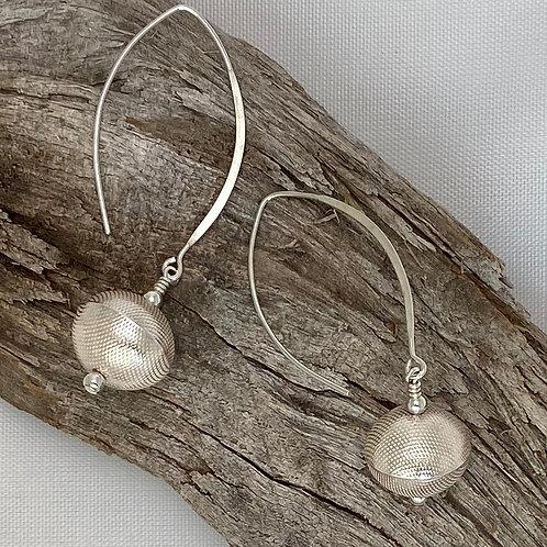E224 Bali Bead Sterling Silver Sparkling Earrings - E224