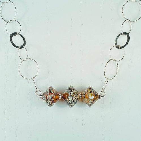 N060 Bar Necklace Transparent Topaz w/Silver Glass Trim