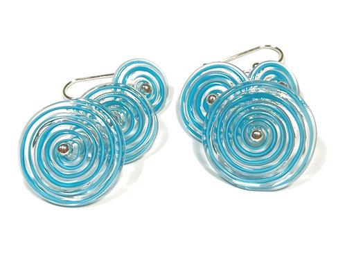 E052 Flying Saucer Earrings 6 Filigrana Discs Turquoise