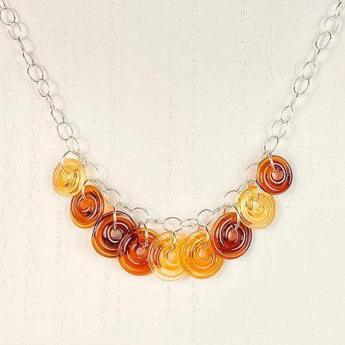 N120 Nine Bead Necklace Transparent Topaz