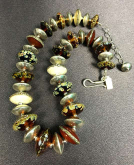 BLN111 Earthy Frit Saucer Necklace