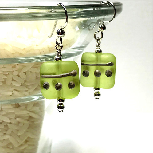 E097 Etched Pillow Bead Earrings w/Silvered Ivory Trim - Lime