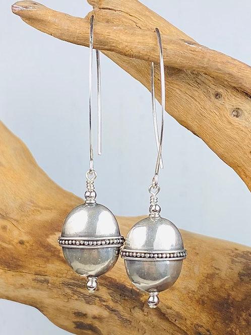 E240 Bali Bead Sterling Silver Sparkling Earrings - E240