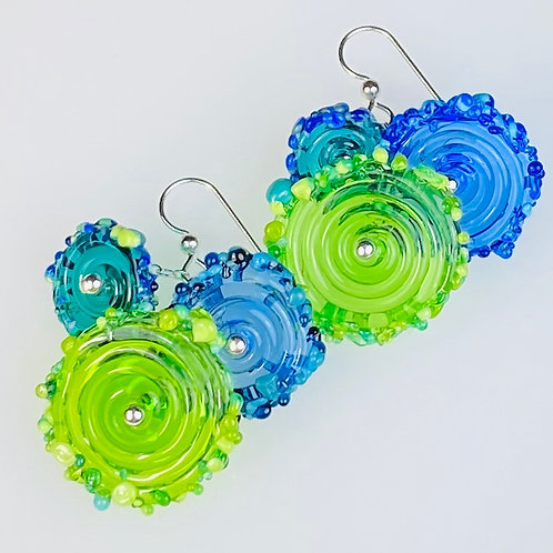 E051 Flying Saucer Earrings 6 Transparent Discs Lime/Turquoise/Blue