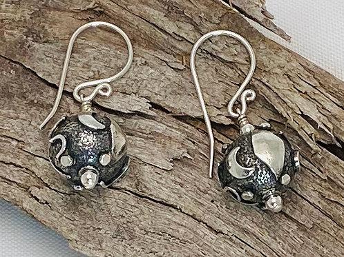 E209 Bali Bead Sterling Silver Sparkling Earrings - E209