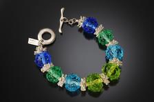 B516 Transparent BluesGreens w/Scribbles Bracelet
