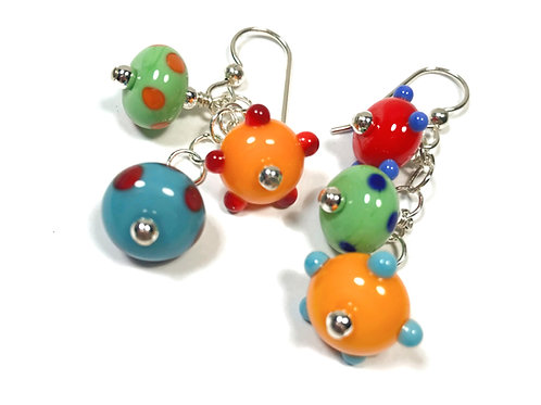E157 Six Baby Bead Earrings Opaque Green/Orange/Turquoise+ Dot Trim