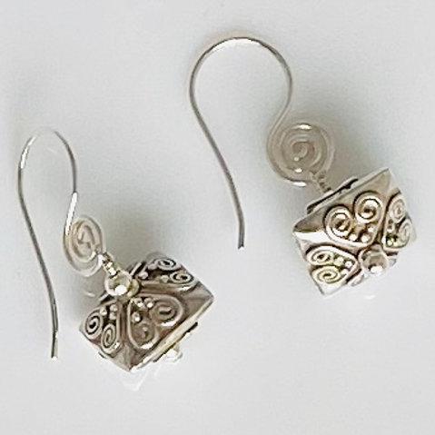 E216 Bali Bead Sterling Silver Sparkling Earrings - E216