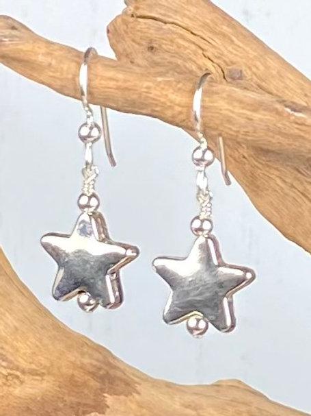 E232 Bali Bead Sterling Silver Sparkling Earrings - E232
