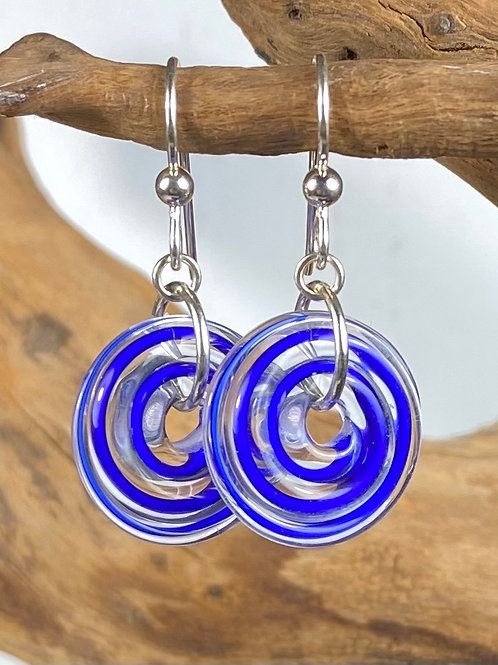 E132 Filigrana Disc Bead Earrings - Royal Blue