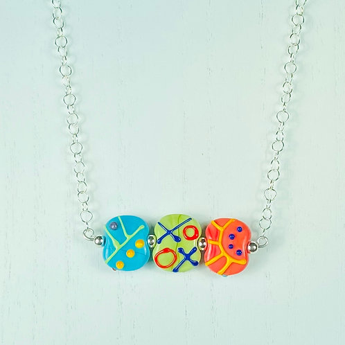 N056 Bar Necklace Multicolor Etched Flat Beads w/Scribble Trim