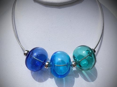 N192 3 Hollow Bead Necklace – Transparent Deep Blue/Sky Blue/Teal