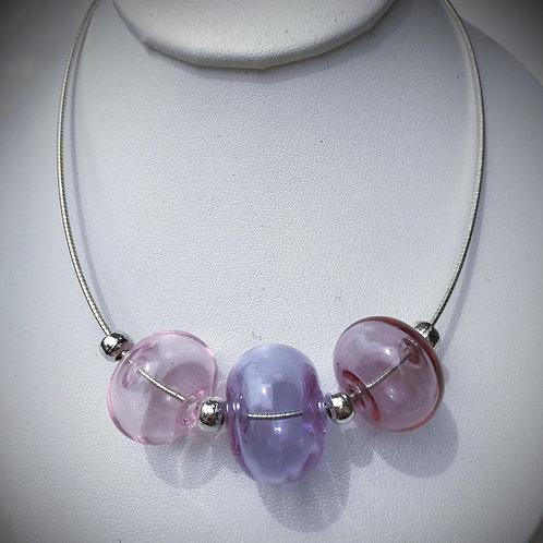 N195 3 Hollow Bead Necklace – Transparent Pink/Purple/Plum