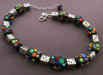 BLN061 Opaque Black Rectangle Beads w/Multi-Color Dot Trim Necklace