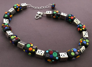 BLN061 Opaque Black Rectangle Beads w/Multi-Color Dot Trim Necklace
