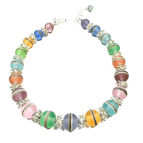 N148 Etched Transparent Pastel Round Bead Necklace