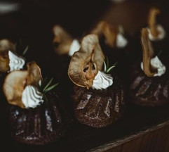Mini pear and gingerbread bundts from a wedding cake table