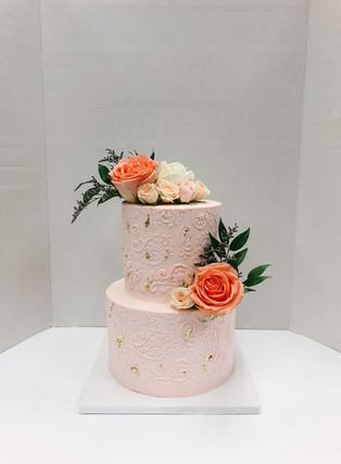 Stencilled Buttercream Cake Victoria BC