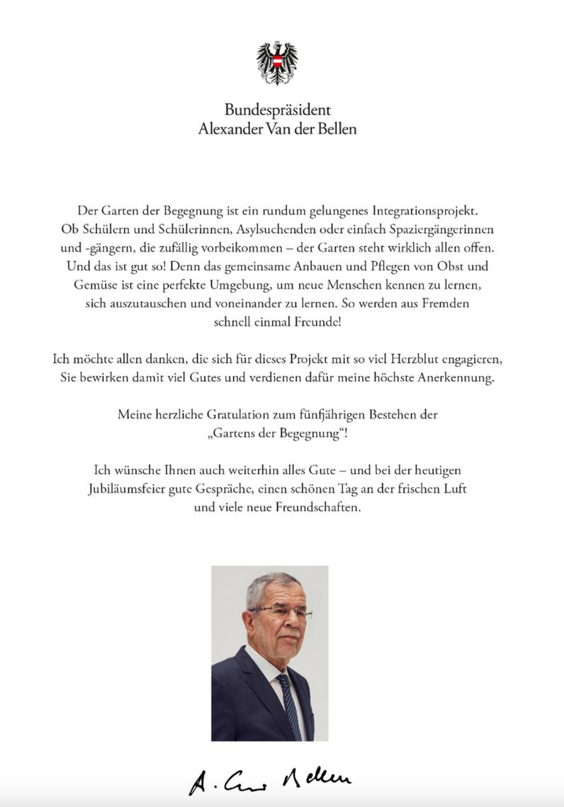 Grußbotschaft Alexander van der Bellen