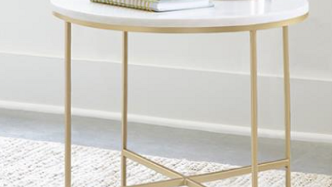White Marble/Gold End Table