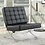 Thumbnail: Armless Upholstered Accent Chair Black