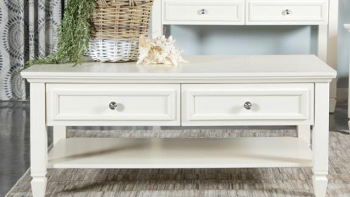 White 2 Drawer Coffee Table