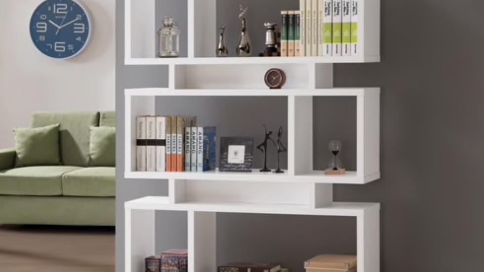 3 Tier Geometric Bookcase White