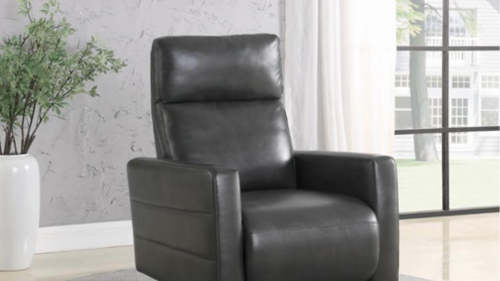Upholstered Push Back Swivel Recliner Grey