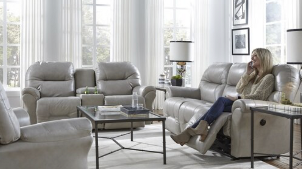 Leather Match Powered Reclining Loveseat