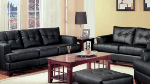 2 Pieces Black Sofa and Loveseat
