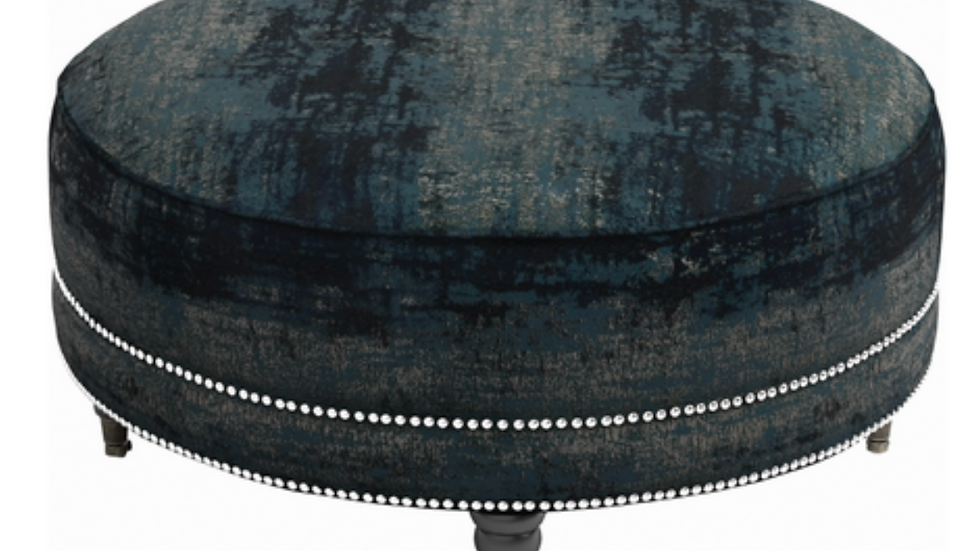 Artemis Round Ottoman with Nailhead Trim