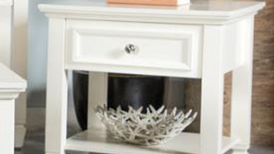 White 1 Drawer End Table