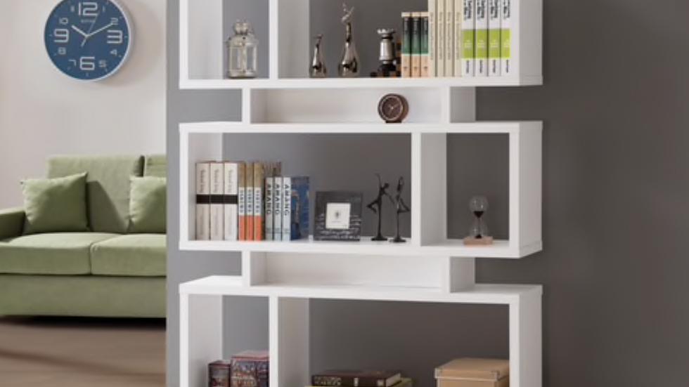 3 Tier Geometric White Bookcase