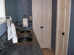radiant heated floor, granite vanity