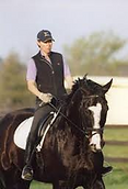 dressage horse and trainer