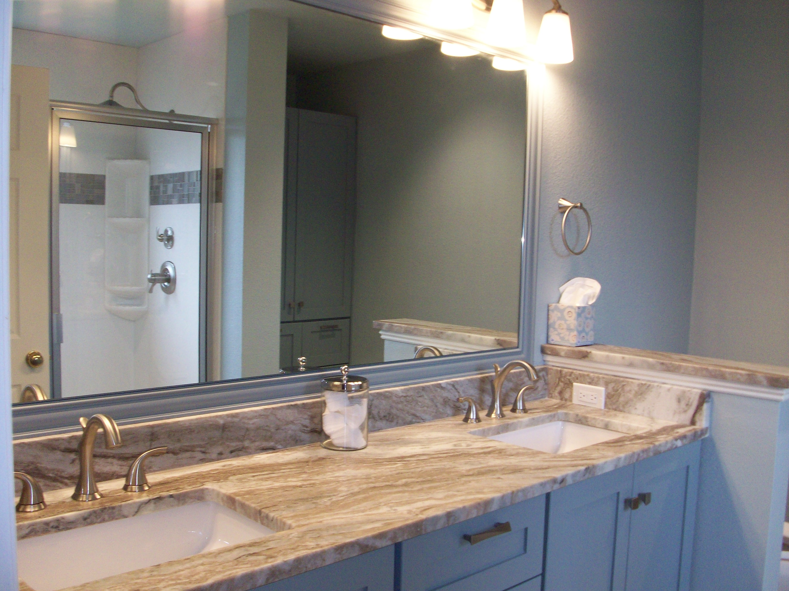 Marble vanity top with leather finish